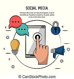 smartphone, 鮮艷, 圖象, 媒介, 海報, 光, 挂鎖, 演說, 社會, 燈泡, 環繞, 擴音器, 氣泡