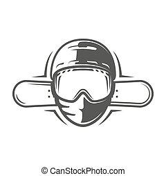 snowboards, 白色, 鋼盔, 背景, 被隔离