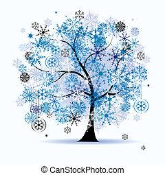 snowflakes., 樹, holiday., 冬天, 聖誕節