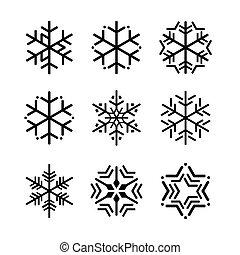 snowflakes., 矢量, 黑色, 彙整, 插圖