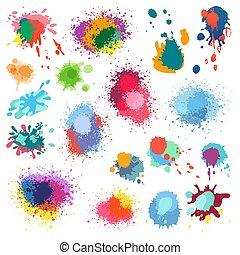 splat, 畫, 顏色, 背景。, 矢量, 飛濺, 墨水