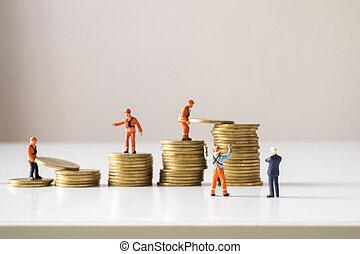 stair., 金, 站點, 看, 經理, 建設, 隊, 步驟, 商人, 硬幣, 做