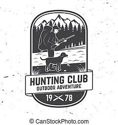 stamp., 象征, forest., 概念, 打獵, 印刷品, 山, 標簽, 俱樂部, badge., 矢量, 冒險, 襯衫, 尋找, 獵人, 印刷術, 設計, 槍, 狗, 戶外, 集合, 葡萄酒