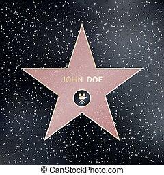 star., 插圖, 步行, 矢量, 好萊塢, 名聲