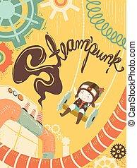 steampunk, 女孩, 世界, 插圖, 孩子