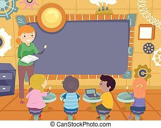 steampunk, 孩子, stickman, 板, 插圖