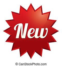 sticker., offer., 特別, 新, tag., 紅色, 圖象