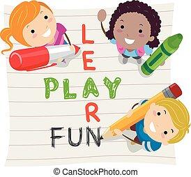 stickman, 學習, 孩子, 玩, 樂趣