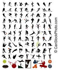stock., 運動員, 插圖, 黑色半面畫像, 矢量, 100