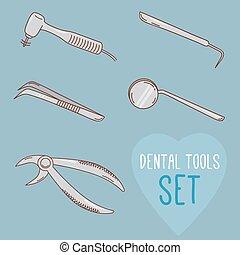style., 牙齒, 集合, 矢量, 卡通, tools.
