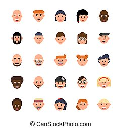 style., avatars, 集合, 矢量, 字符, 套間