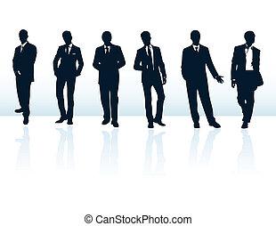 suits., 更多, 商人, 藍色, 黑色半面畫像, 我, 集合, 矢量, 黑暗, gallery.