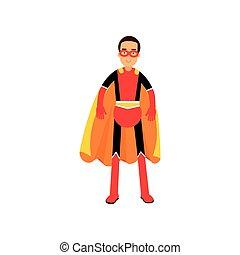 superhero, 插圖, 矢量, 橙, 海角, 人