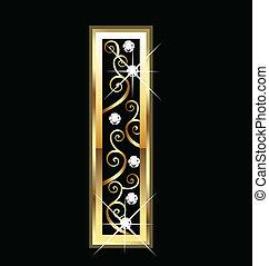 swirly, 裝飾品, 金, 信