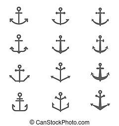 symbols., 矢量, 集合, 錨