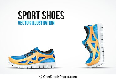symbols., shoes., 跑, 二, 明亮, 鬼鬼祟祟的人, 背景, 運動