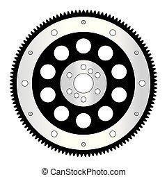 systems., 能量, 儲存, 插圖, 汽車, 矢量, flywheel., parts.