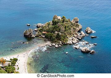 taormina, 島, 西西里島, italy, 空中, 海灘, 看法