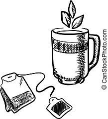 teabag, 杯子, 茶