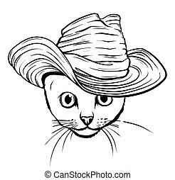 tie., 矢量, 白帽子, 黑色的貓