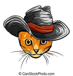 tie., 矢量, 貓, 帽子, 插圖