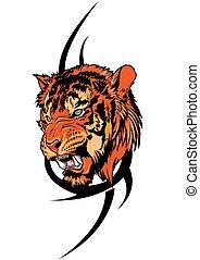 tiger, 紋身, 部落, 矢量, 插圖