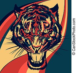 tiger, face., head., 插圖, 矢量