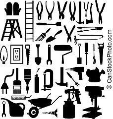 tool., 種類, 插圖, 黑色半面畫像, 矢量, 各種各樣, 黑色