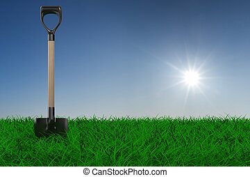 tool., 鏟, 花園, 圖像, grass., 3d