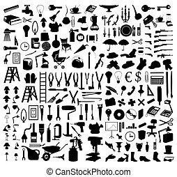 tools., 插圖, 黑色半面畫像, 矢量, 各種各樣, 主題