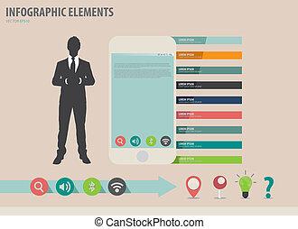 touchscreen, 矢量, 鮮艷, 顯示, 插圖, 紙, infographics, 設備, 商人, template.