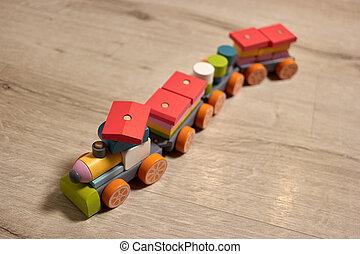 train., 玩具, 木制, 看法, 頂部