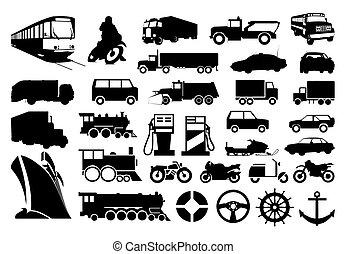 transport., 插圖, 黑色半面畫像, 矢量, 各種各樣, 彙整