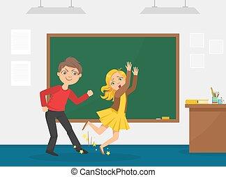 tripped, 衝突, 插圖, agressive, 矢量, 孩子, 男孩, 在之間, 脅迫, 卡通, 學校, 嘲笑, 他的, 同學