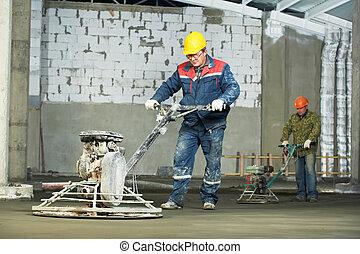 trowelling, 精整, 工人, 混凝土