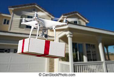 (uav), quadcopter, 系統, 交付, 飛机, 雄峰, 箱子, 紅色, unmanned, 家, 帶子