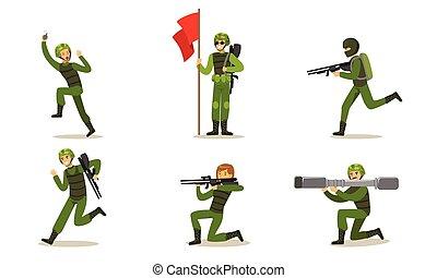 uniform., 矢量, 人, 軍事, illustration., 綠色, 集合