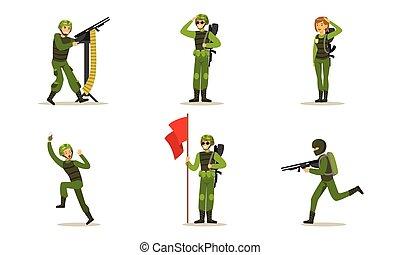 uniform., 矢量, 人, illustration., 綠色, 集合