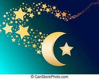 vecto, 穆斯林, 星, 月牙, 金
