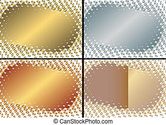 (vector), 黃金, 框架, 彙整, 銀色