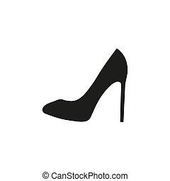 vector., icon., 婦女, 黑色的鞋