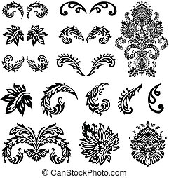 victorian, 矢量, 裝飾品, 集合