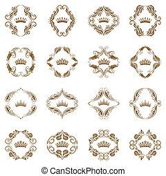 victorian, elements., 裝飾, 王冠