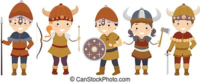 viking, 孩子, stickman, 插圖, 配備