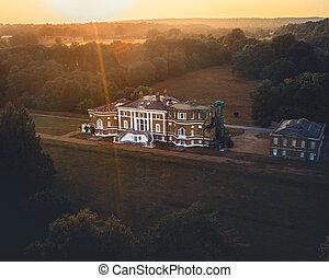 waverley, farnham, 大廈, ii, 修道院, 空中, 等級, 房子, 看法, 位於, 格魯吉亞人