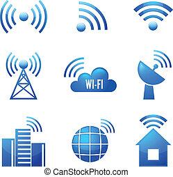 wi-fi, 集合, 有光澤, 圖象