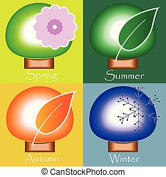 winter., 春天, 秋天, -, 四個季節, 夏天