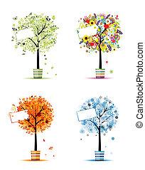 winter., 藝術, 春天, -, 罐, 樹, 四, 設計, 秋天, 季節, 你, 夏天