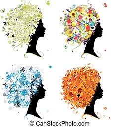 winter., 頭, 藝術, 春天, 秋天, -, 四, 設計, 女性, 季節, 你, 夏天
