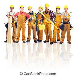 workers., 工業, 組, 專業人員